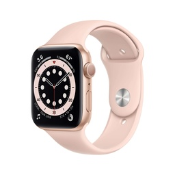 [M00E3NF/A] Apple Watch Series 6 GPS, 44mm Gold Aluminium Case with Pink Sand Sport Band - Regular