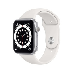 [M00D3NF/A] Apple Watch Series 6 GPS, 44mm Silver Aluminium Case with White Sport Band - Regular